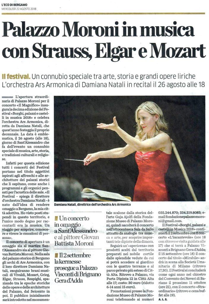 Articolo L'Eco di Bergamo Inaugurazione Borghi 22 agosto