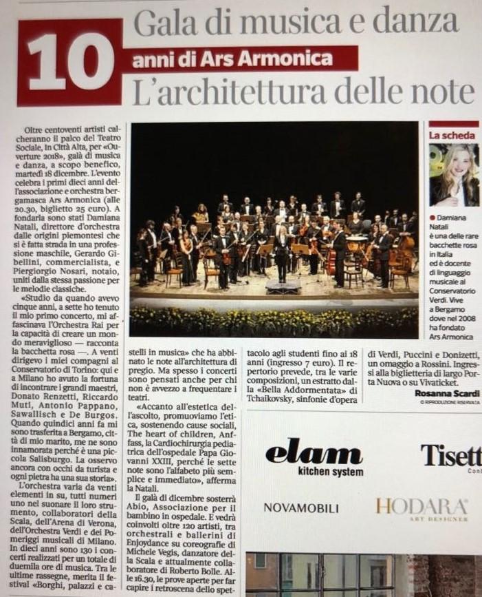 Articolo Eco di Bergamo agosto 2018