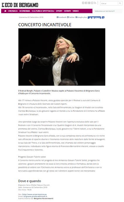 L'Eco di Bergamo, concerto incantevole, 2 settembre 2018