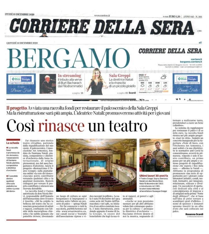 """Corriere della Sera, """"Così rinasce un teatro"""", di Rosanna Scardi, 10 dicembre 2020"""