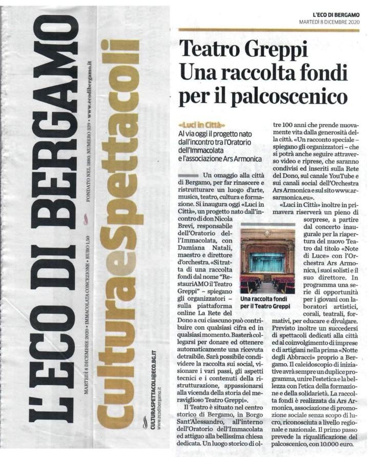 Articolo Raccolta fondi per Teatro Greppi - L'Eco di Bergamo